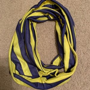 Purple and gold stripe infinity scarf